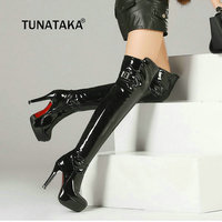 Plus Size 43 Women Square High Heel Thigh Boots Platform Side Zipper Winter Over The Knee