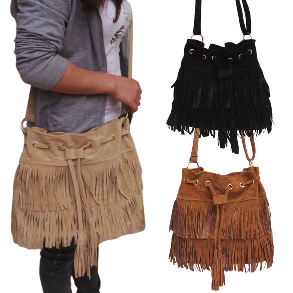 Suede Drawstring Bucket Bag Women Handbag Faux Fringe Tassel Shoulder Crossbody Messenger Bag BS88 weave drawstring bucket bag