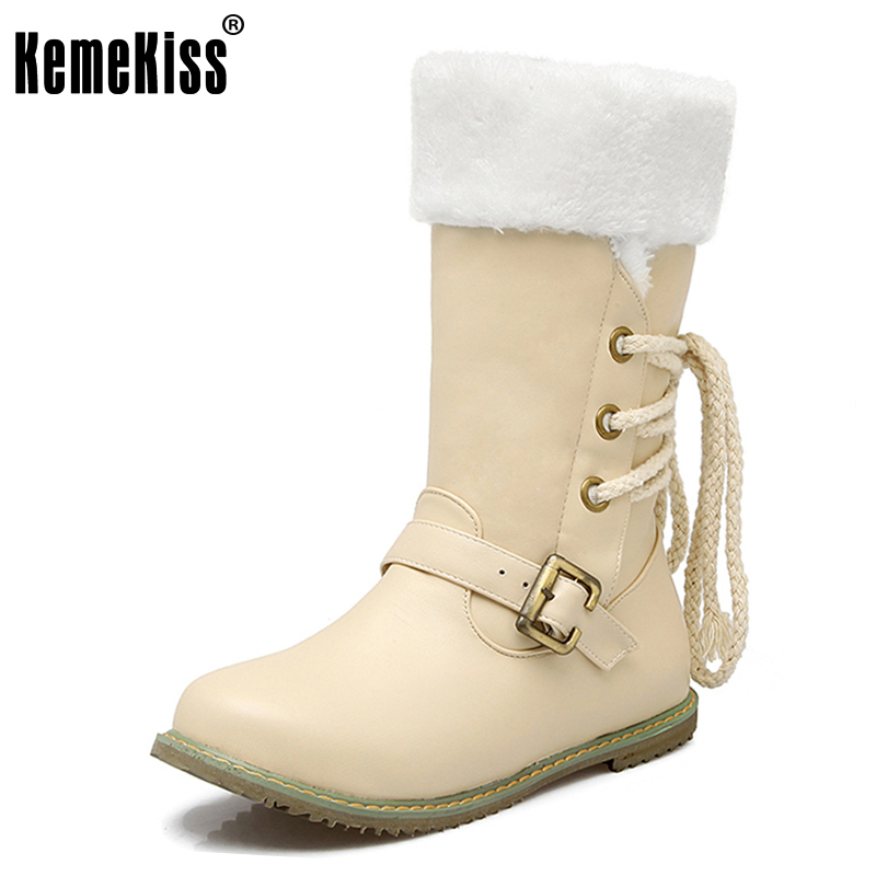 цены на KemeKiss  Women Round Toe Half Short Boots Woman Lace Up Warm Fur Mid Calf Botas Fashion Buckle Footwear Shoes Size 30-52 в интернет-магазинах