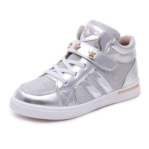 Image 5 - Kids 2018 Kinderen Meisje Merk Glitter High Top Sneaker Meisje Leuke Kitty Fashion Trainer Peuter Pu Leer Pailletten Schoen