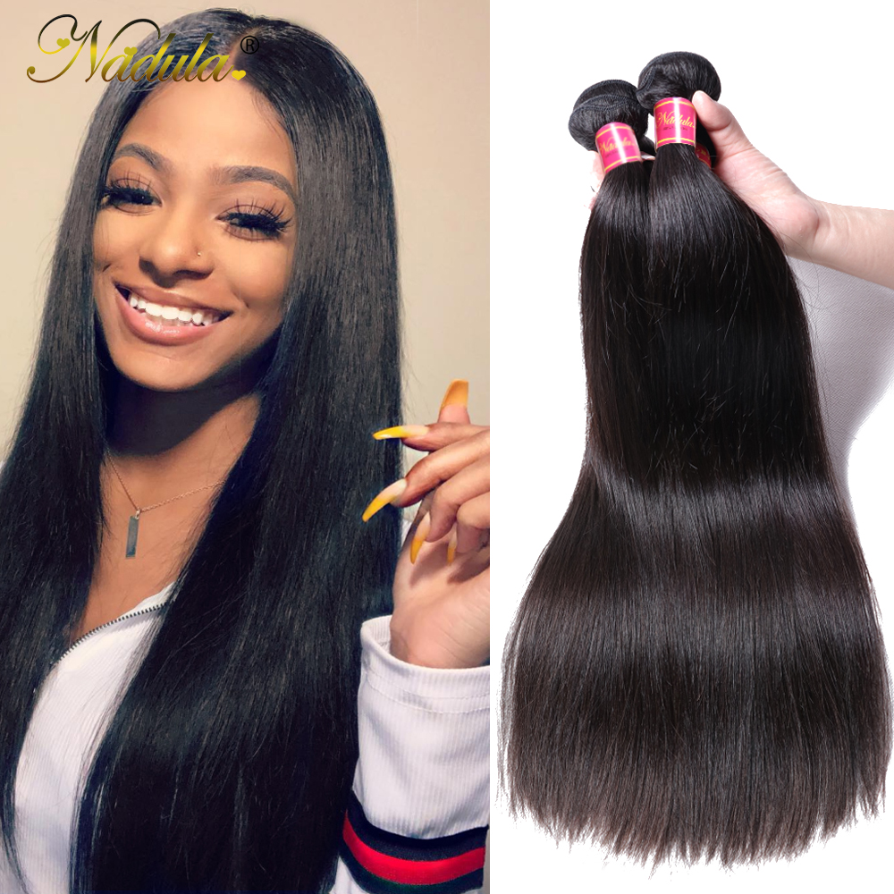 Nadula Hair 1pcs / 3Bundles / 4 Bundles Malaysia Straight Hair Weaves - Cabello humano (negro)