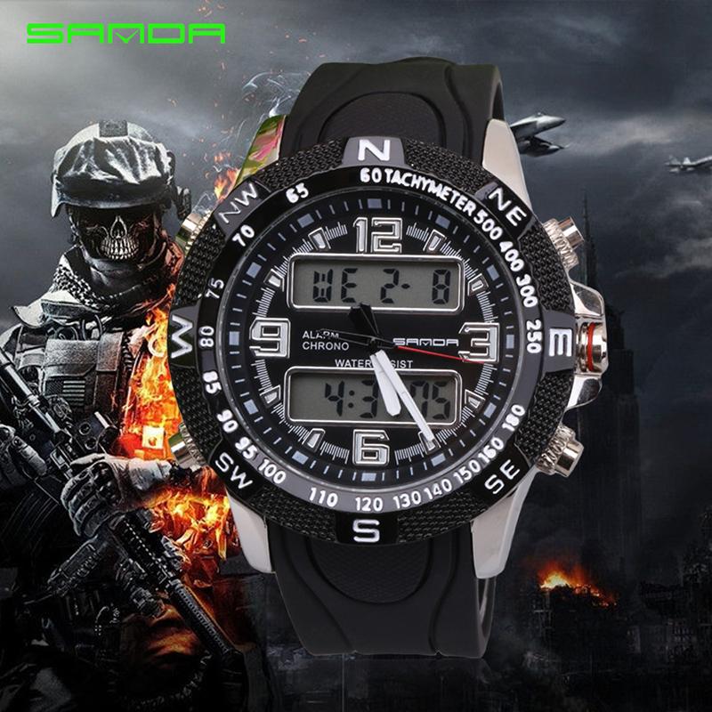 Beautiful Sanda New Arrival Big Dial Dual Time Water Resistant Quartz Watch Soft Rubber Band Digital Analog Led Wristwatches Watch For Men Extremely Efficient In Preserving Heat Sports Watches Men's Watches
