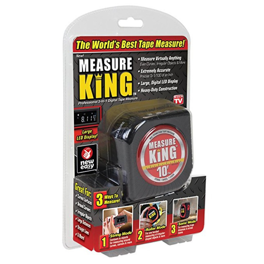 Measuring Tape Black 3 in 1 Measure Tape King Roll Cord Laser Mode Drop Shipping Wholesale new 3 in 1 digital tape measure string sonic roller mode laser tool