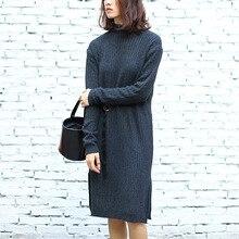 Women's Long Sleeve Dark Grey Pullovers Sweater with Sash Knitted Swearshirt Winter Dress Christmas Gift