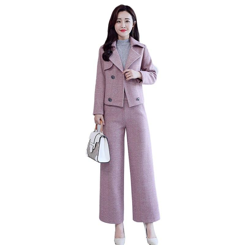 Комплект из 2 предметов, Деловой брючный костюм с карманом, Женская рабочая одежда, Офисная Дамская форма, деловое шерстяное пальто, куртка с