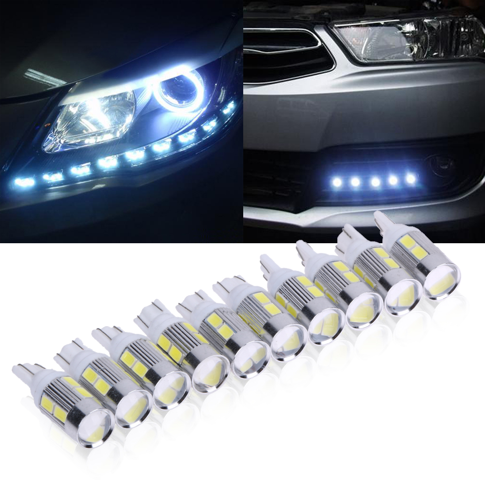 Super Bright 10X LED T10 LED Light Bars for 5630 10SMD Light T10 W5W Canbus No Error 12V Led Bulbs Indicator Light Parking Lamp t10 3w 144lm 6 x smd 5630 led error free canbus white light car lamp dc 12v 2 pcs