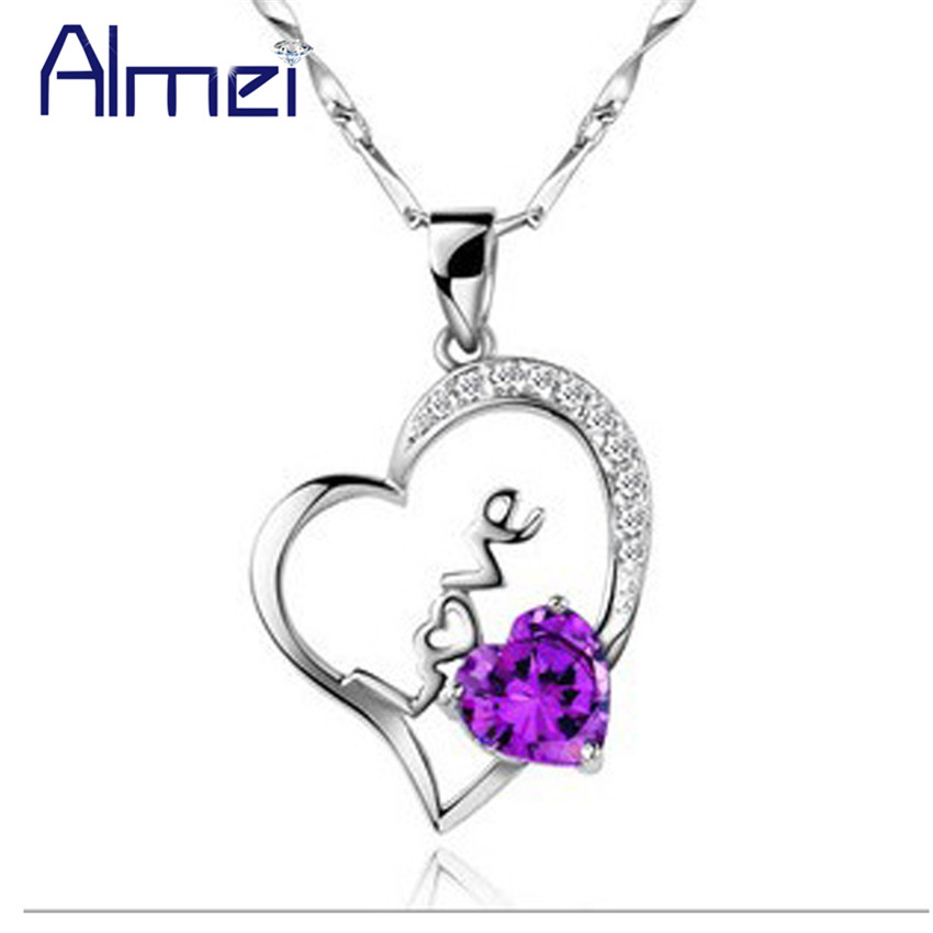 10% Heart Pendant Crystal Necklace New Bijoux Silver Jewelry Purple Necklaces Women White Stone Accessories Fashion Collares