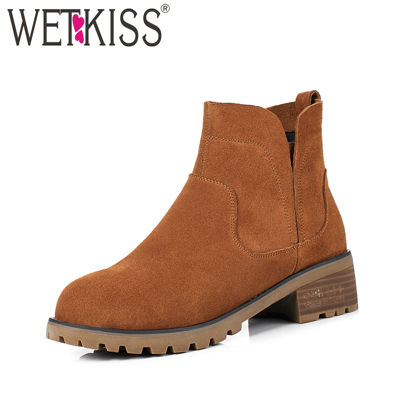 WETKISS Spring Women Ankle Boots Elastic Band Round Toe Cow Suede Footwear 2018 Fashion Autumn Fashion Thick Heels Ladies Shoes 2017 new designer spring autumn women elastic boots famous designer fashion booties round toe ladies dancing brand shoes a6631