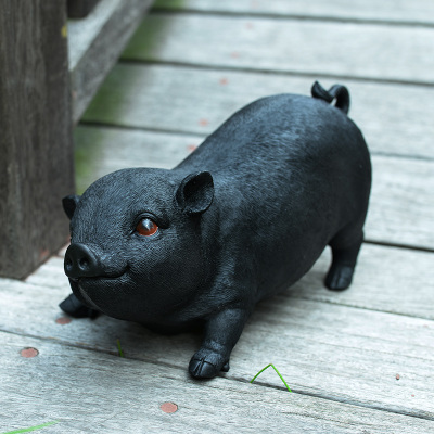 Resin piglet Big black pig model restaurant landscape hotel decoration statues sculpture Home wedding decoration dies