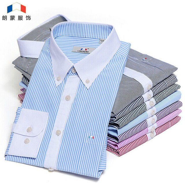 2016 Mens Long Sleeve Dress Shirts Striped Man Brand Social Slim Fit Shirts Camisa Masculina Fashion Clothes Chemise Homme