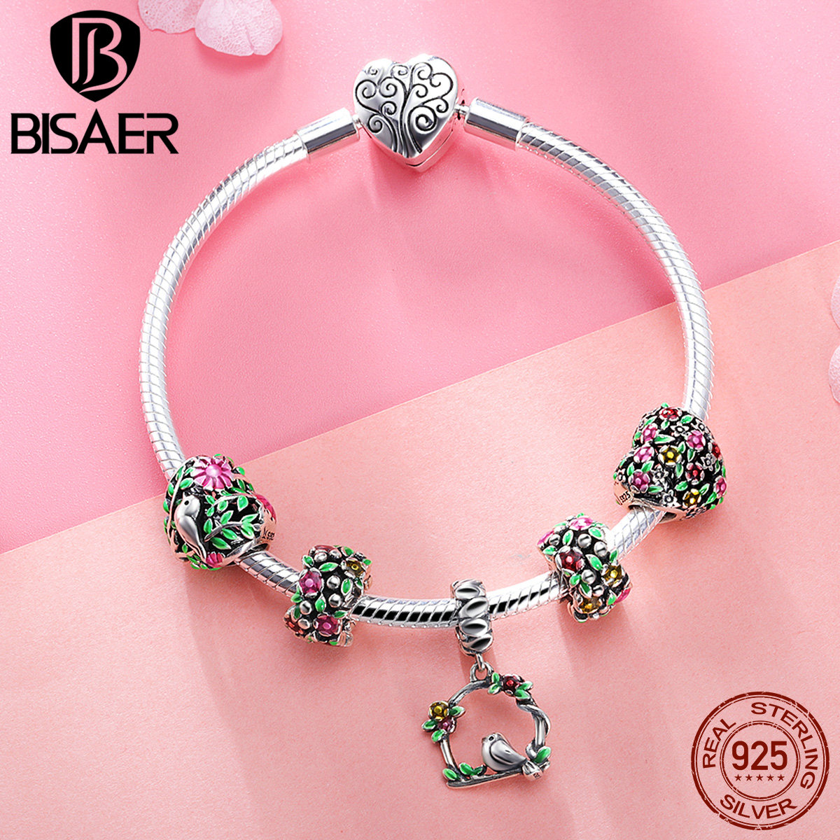 BISAER 2018 New 925 Sterling Silver Bird In Bush Heart Green Summer Collection Charm Bracelet Female Brand Beads Bangle HSB804 bisaer 7pcs 925 sterling silver heart key and locket heart pendant brand charm bracelet for women wedding silver bangle gxb811
