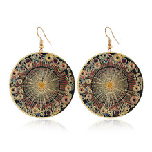 CRLEY Fashion jewelry round earrings ethnic style color drop earrings retro flower enamel pendant earrings for women jewelry недорого