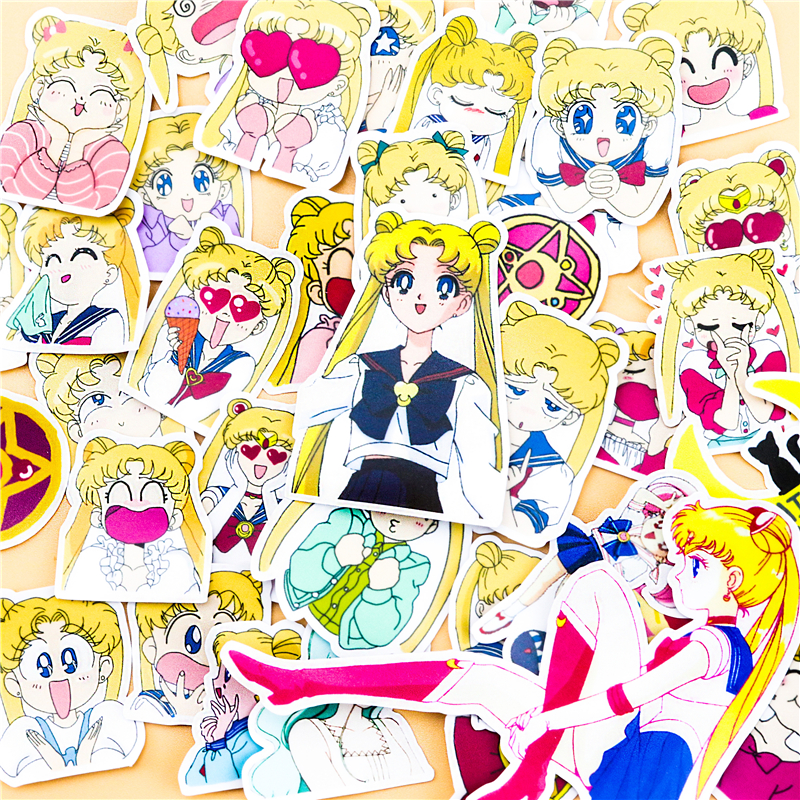 36pcs Creative Cute  Self-made Sailor Moon Scrapbooking For Phone Luggage Cartoon Fairy Paper Stickers / Waterproof Stickers