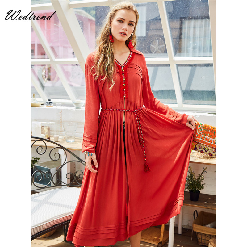Wedtrend V-Neck Orange Red Long Beach Dresses Plus Size Loose Sexy Summer Dress High Split Sparkling Wholesale Price Cheap Dress