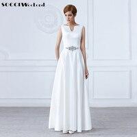 Socci white v neck crystal sashes long wedding dresses sleeveless backless bride dress formal party gown.jpg 200x200