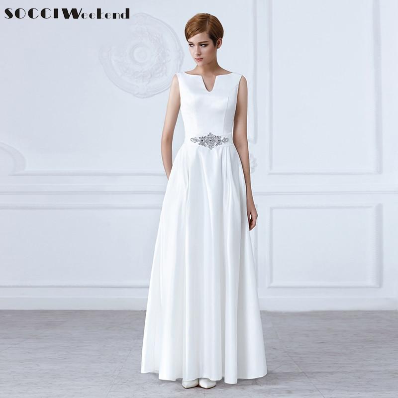 Blanco Con cuello en V Fajas de cristal Vestidos de novia largos Sin mangas Sin espalda Vestido de novia Vestido formal de fiesta Bolsillos Vestidos De Novia Nuevo