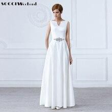White V-Neck Crystal Sashes Long Wedding Dresses Sleeveless Backless Bride Dress Formal Party Gown Pockets Vestidos De Novia New