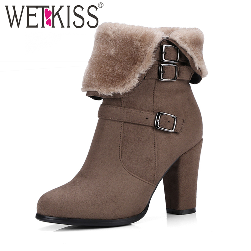 WETKISS Brand Thick Plush Snow Boots Women Warm Winter Boots Buckle Strap Side Zipper Thick High Heels Shoes Woman Ankle Boots цена