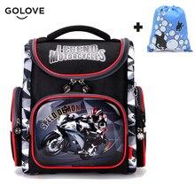 Купить с кэшбэком Cool Boys Children School Bags for Boy Orthopedic Breathable Motorcycle Football Backpack Child School Bag Mochila Escolar