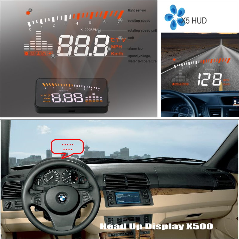 Car HUD Safe Drive Display For BMW X5 E53 E70 / X6 E71 - Refkecting Windshield Head Up Display Screen Projector bigbigroad car hud head up display windscreen projector obd2 for bmw x5 e53 e70 f15 g05 g30 g31 g38 x4 f26 g02 x6 e71 e72 f16