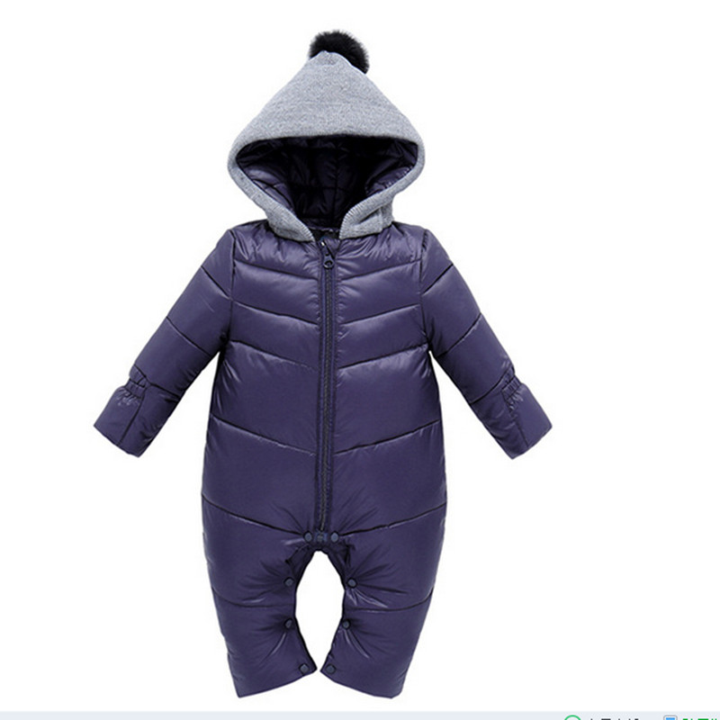 ФОТО winter baby girl Rompers baby bodies Down Snowsuit long sleeve Hooded Jumpsuit fille automne hiver duck down jacket boys winter