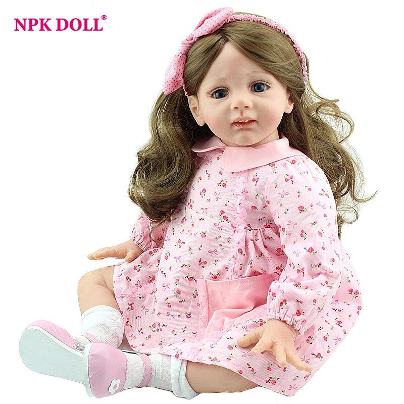 NPKDOLL 60cm Lifelike Doll Reborn 24 Handmade Baby Dolls For Girls BeBe Reborn Long Hair Toddler