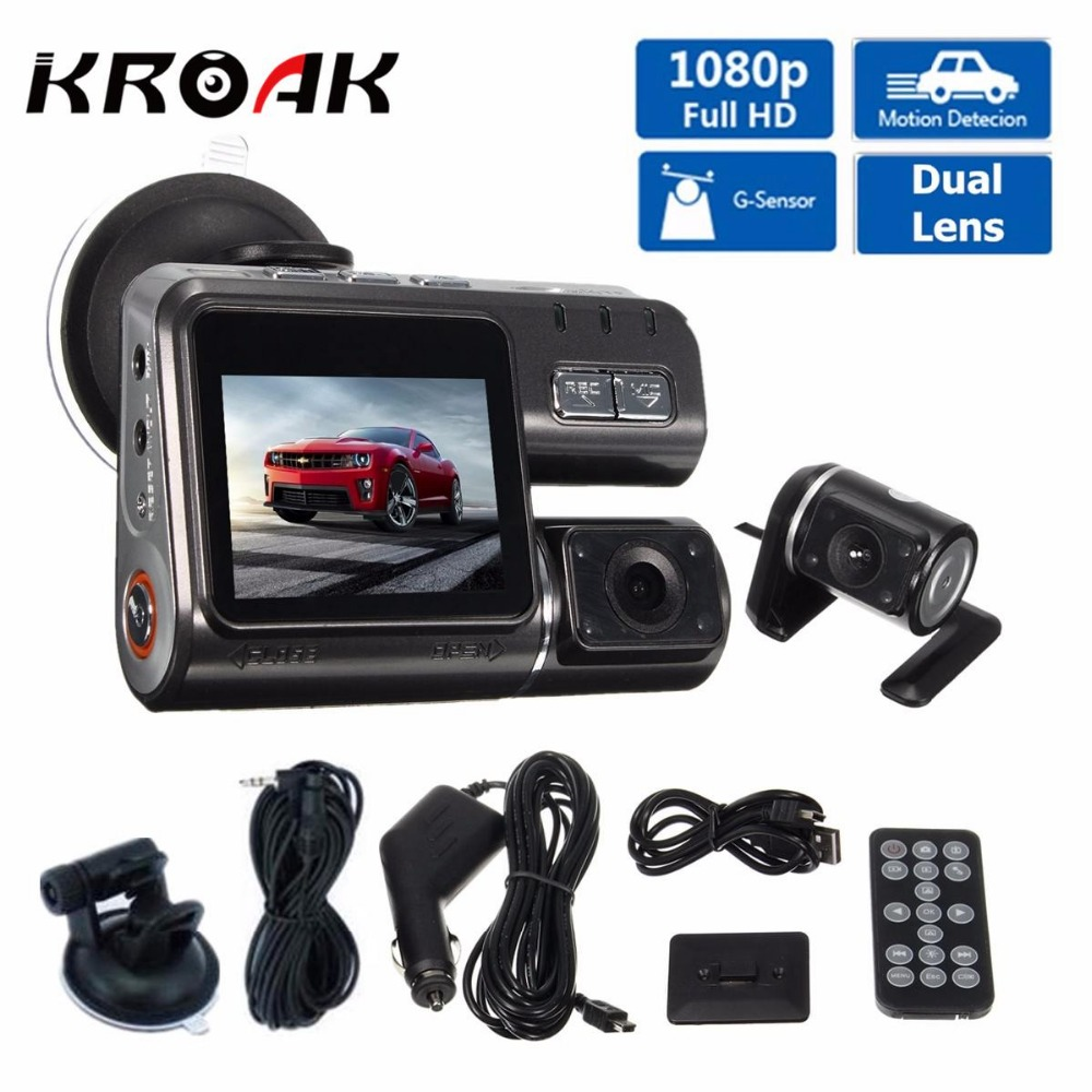Full HD 1080P Car Vehicle DVR Camera Dash Cam Video Record G Sensor Dual Lens Dvr Cameras +Rear View Camera dual lens car dvr g30b front camera full hd 1080p external rear camera 720 480p h 264 g sensor dash cam two cameras