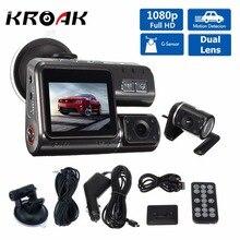 Full HD 1080 P Veículo Câmera Do Carro DVR Traço Cam G Sensor De Gravação de Vídeo Dual Lens Dvr Câmeras + Rear Câmera de visão