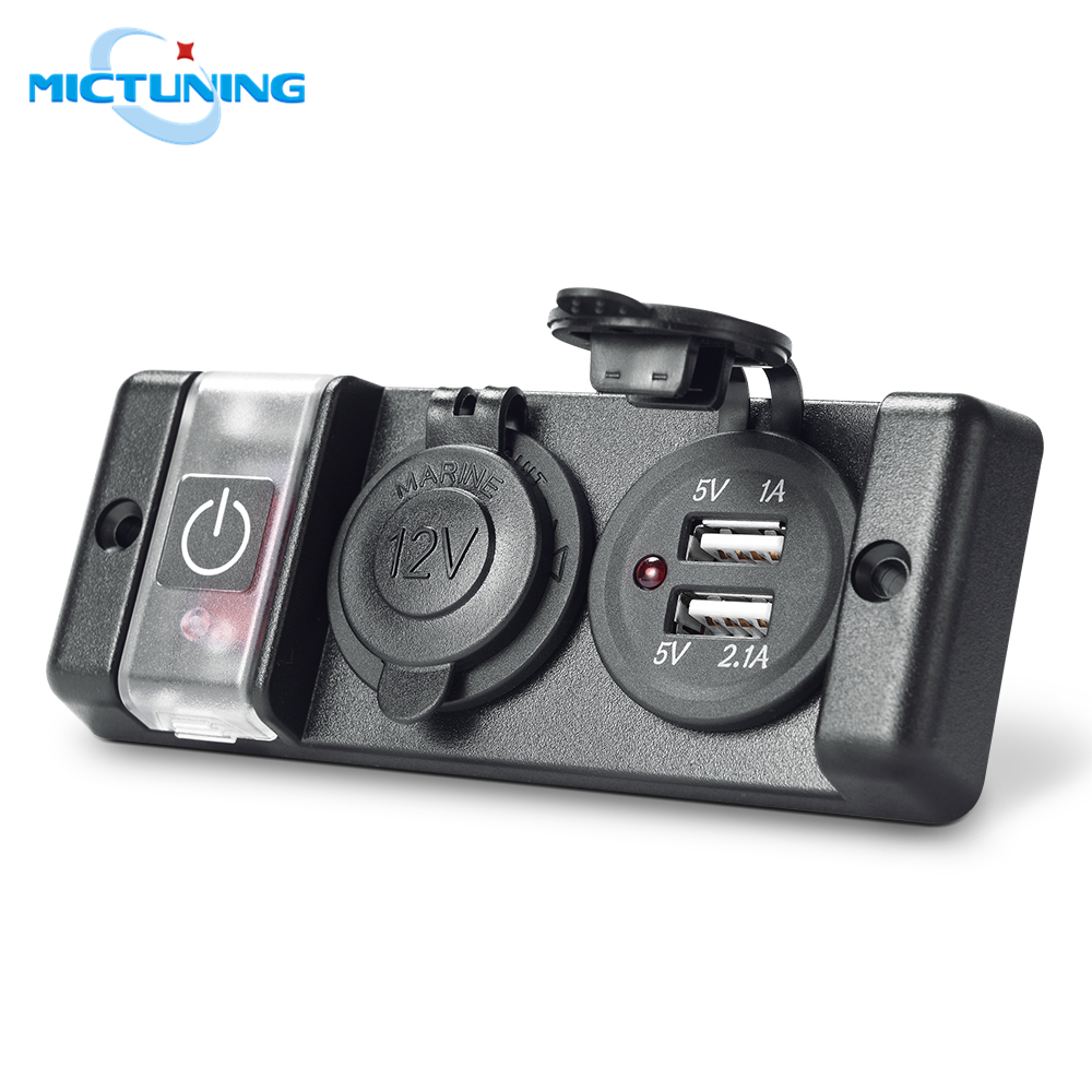 MICTUNING Pre-wired 12V Breaker Switch Panel Dual USB Socket Charger 2.1A/1A W/ LED Indicator & Cigarette Lighter Socket For Car