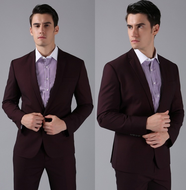 Slim Formal Custom made dark red high wool Suits Business suit ...