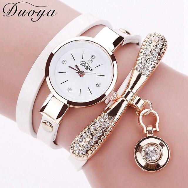 Duoya Для женщин модные часы браслет золото кристалл горного хрусталя Кожаные модельные туфли кварцевые наручные часы дамы Винтаж роскошные часы