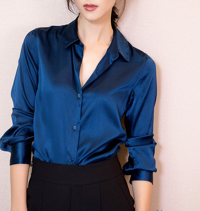 S xxxl moda mujeres oscuro azul del satén de seda blusa