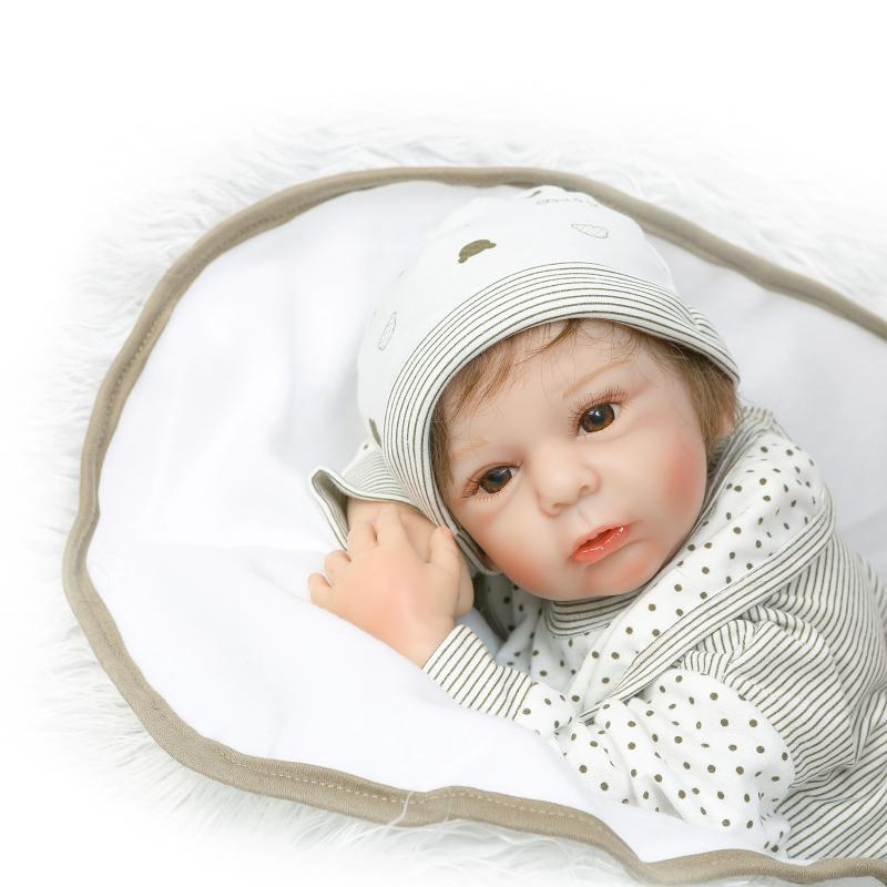 55cm Lifelike Reborn Baby Doll with Fiber Hair Soft Real Gentle Touch Vinyl Silicone Doll Children's Playmate Christmas Gifts insular high quality maternity mummy handbag waterproof baby stroller bag nappies bags baby diaper backpack