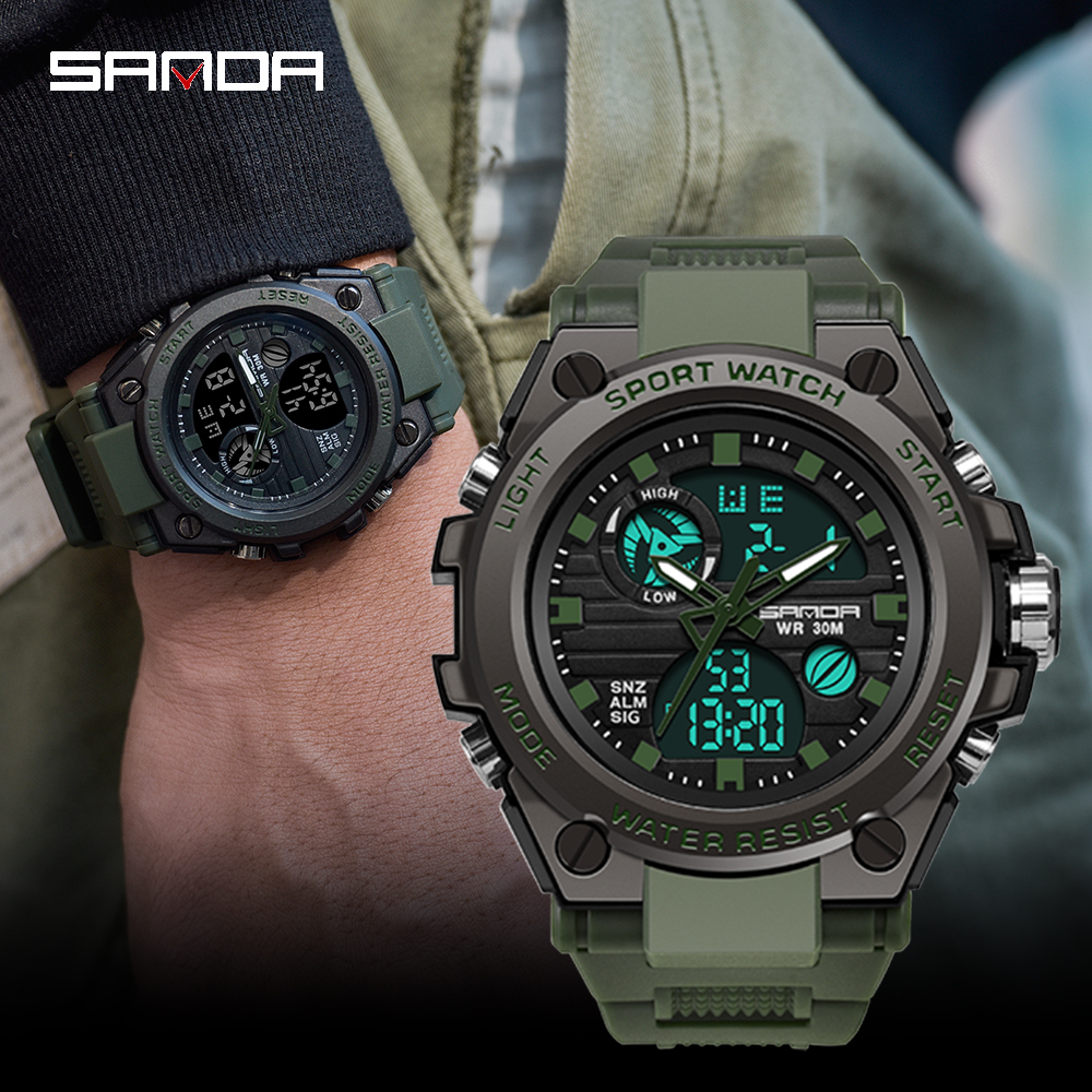 SANDA 2019 New G Style Sports Men's Watch Military Quartz Watch Men's Waterproof S Vibrating Digital Clock Relogio Masculino