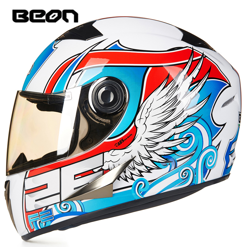 Original BEON Motorcycle Helmet ECE Certification Classic Full Face Motorbike Kart Racing Helmet Motocross Motor Bike Helmets 2017 new yohe full face motorcycle helmet yh 970 double lens motorbike helmets made of abs and pc lens with speed color 4 size