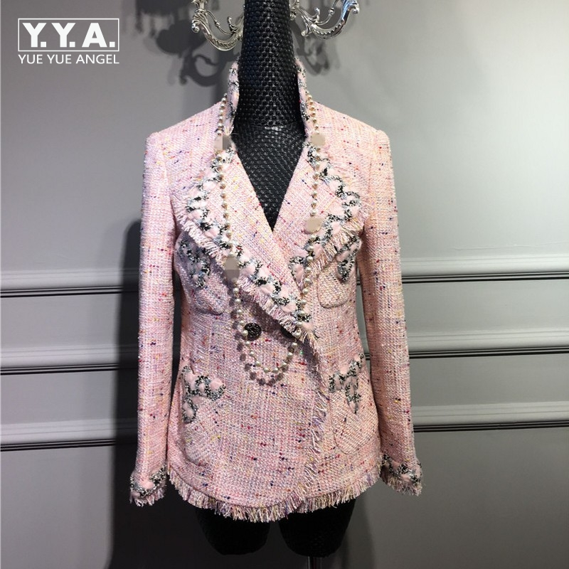 2018 Runway Elegant Luxury Classic Design Lady Pearls detail Pink Weave Tweed Short Jacket Fringe Hem Turn Down Collar Pockets