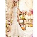 Romântico Poetic Lace Vestido de Casamento com Mangas Vestido De Noiva Sereia Botão Voltar Vestidos de Casamento com Tribunal Trem 2017