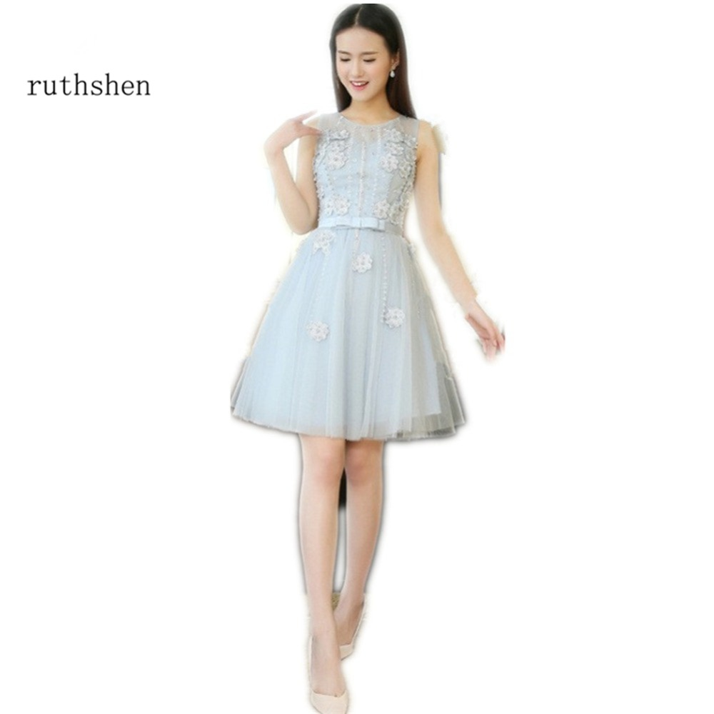 ruthshen Cheap Elegant Short   Cocktail     Dresses   With Appliques Pearl Beaded Ruched Vestido Formal Party   Dress   Vestido Cocktel
