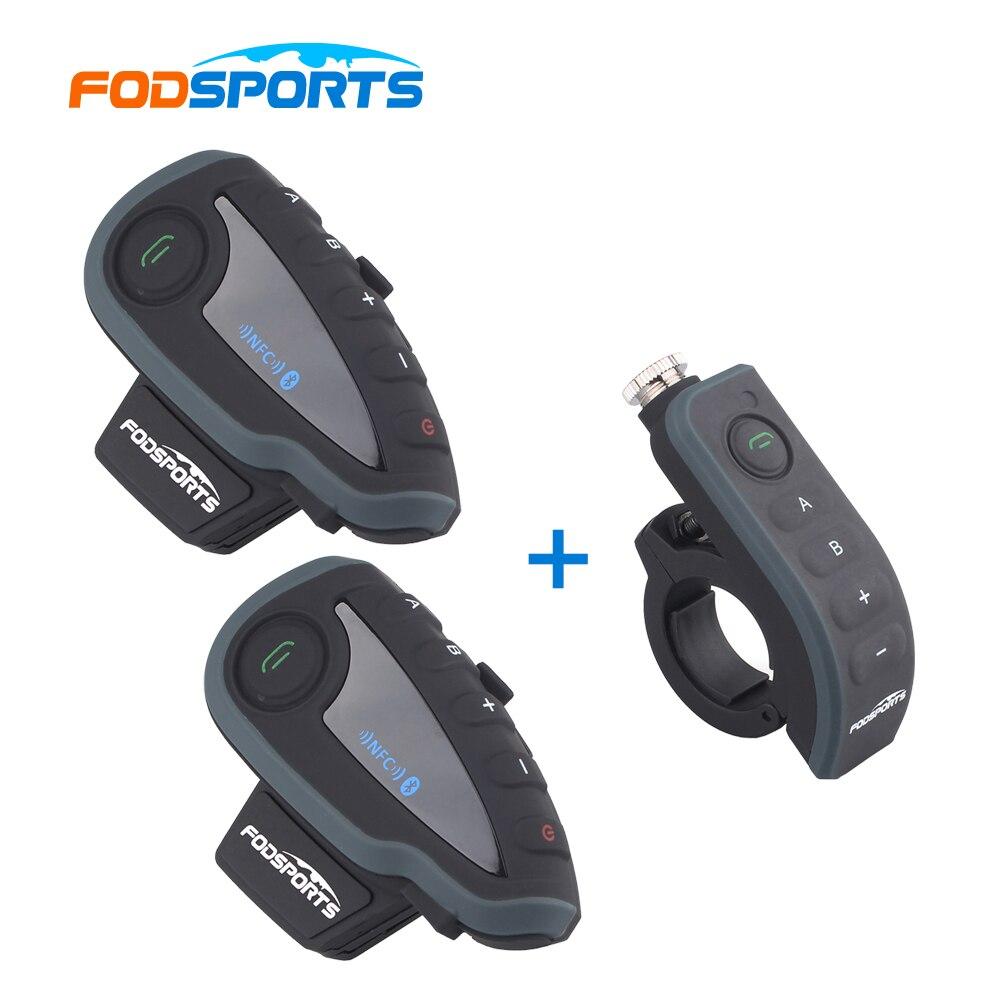 2 * interphone V8 avec 1 * télécommande! V8 interphone moto casque Bluetooth interphone avec FM NFC pour 5 coureurs