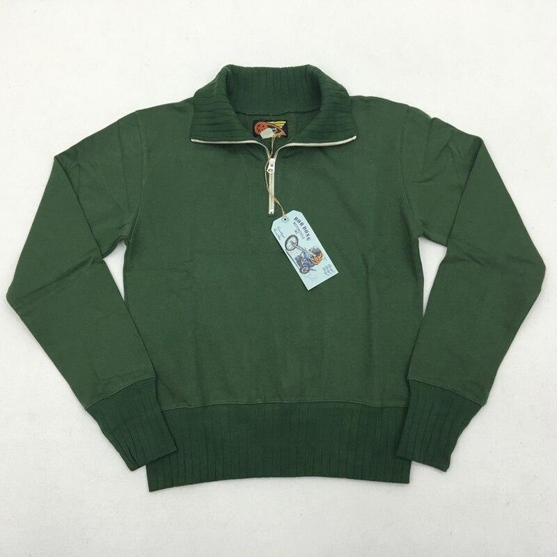 1930-50 sweat à capuche à col roulé pour hommes avec col roulé et quart de pull à fermeture éclair Moto Club Biker veste Vintage pour hommes