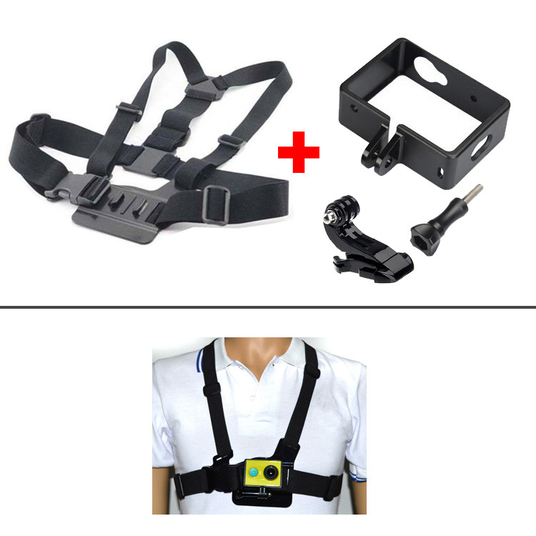 Professional Accessories for xiaomi yi xiaoyi sport camera Harness Adjustable Elastic Camera Belt Body Chest Strap+Protect Frame