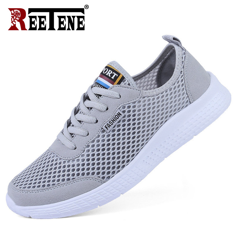 REETENE Size 35-50 Men Casual Shoes Spring Summer Fashion Men'S Sneakers Outdoors Mesh Shoes Men Lace Up Breathable Men Shoes