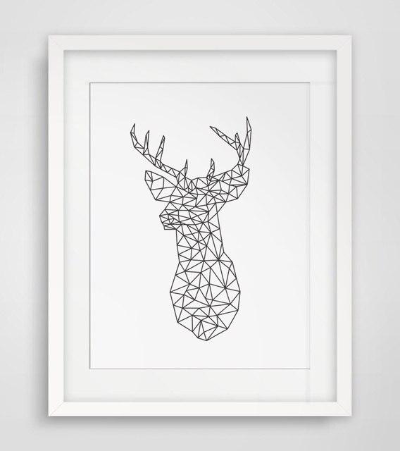 Geometric Purple Deer Wall Art Print Modern Poster Buck: Geometric Deer Head Art Print Deer Geometric Animal Wall