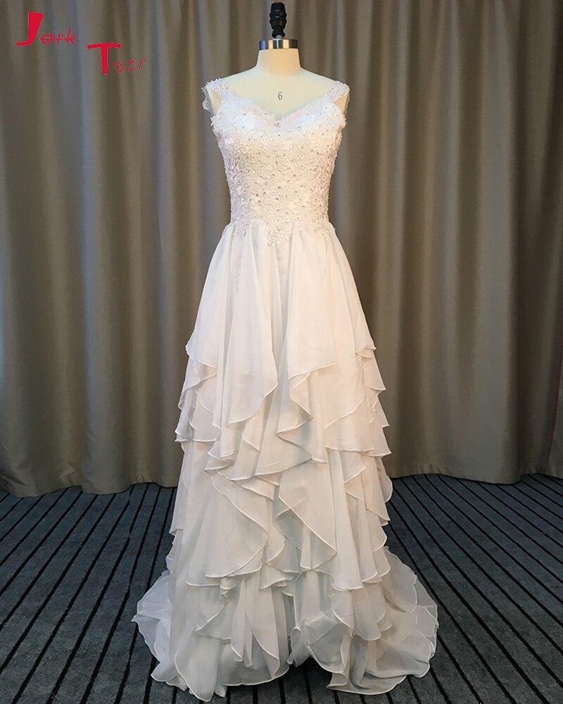 Jark Tozr New Listing Appliques Button Up Chiffon Wedding Dress 2018 ...