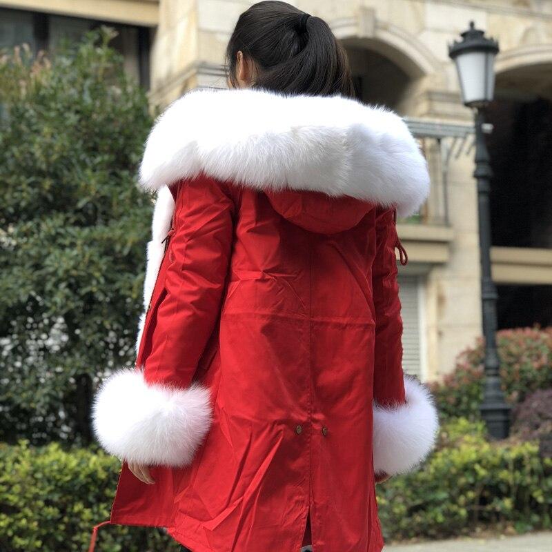 Femmes Réel De Lokar Doublure Capuchon Shell Parka Red Fourrure Vestes Femme Renard À Lapin Veste Nature Manteau Fandy Hiver SwBXqR