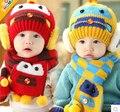 Зима малыш мальчики зима уха заслонки теплую Bebe шляпа с шарфом шапочка автомобиль дети зимой детей крышки головные уборы