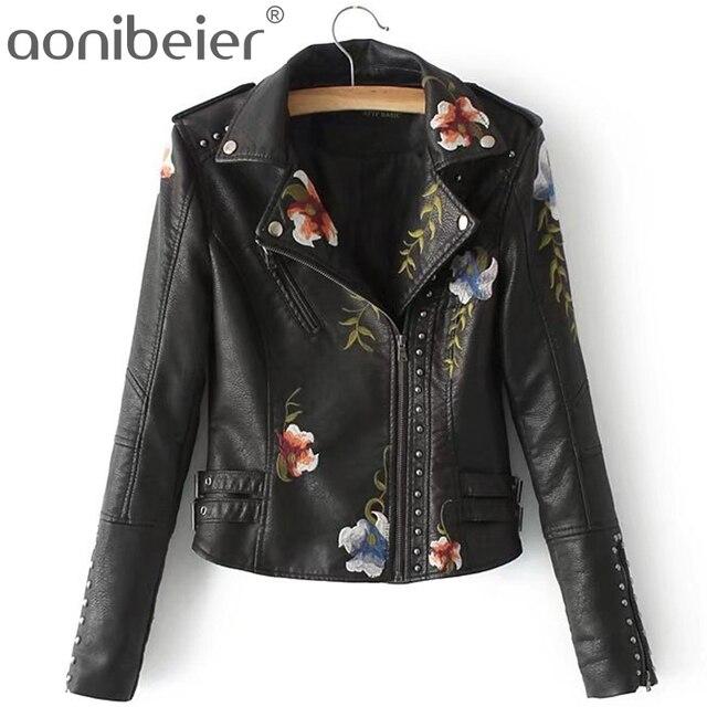 Aonibeier Street Style Rivet Cool Women Locomotive Jacket Autumn Zipper Women Short Coat Fashion Floral Embroidery Ladies Tops