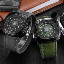 Мужские часы из натуральной кожи с квадратным ремешком, чехол со скелетом, бренд V6, мужские военные спортивные наручные часы, водонепроницаемые часы