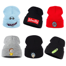 Rick and marty, зимние вязаные шапки, Rick Beanie, уличная, лыжная, вязаная шапка, Skullies, американское аниме, хлопок, Pickle Rick, Get Schwifty