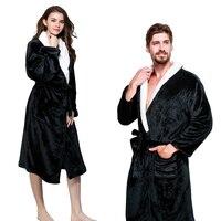 Envmenst Épaissir Corail flanelle Peignoirs De Bain Hiver Automne Casual Robe de Chambre Longue Peignoirs Femmes Hommes Amateurs de vêtements de Nuit